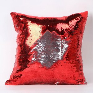 Double Sequin Pillow Case cover Glamour Square Pillow Case Cushion Cover Home Sofa Car Decor Mermaid Christmas Pillow Covers HWA2004