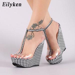 Eilyken Moda percalle Spesso Bottoms zeppa Femme dell'inarcamento della caviglia Strap Platform High Heels PVC donne trasparenti Scarpe C1011