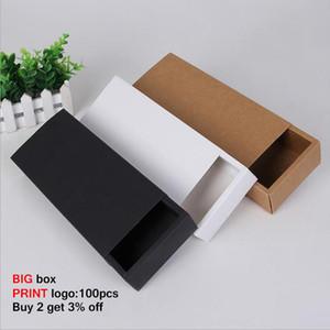 10pcs Große Geschenkkarton Schublade Kraft Verpackungs-Kasten Papierschubladenkästen Verpackung Personalisierung Individuelle Logo Verpackung