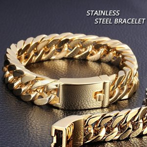 Luxurys designers men's domineering vacuum electric plated bracelet Cuba chain bracelet