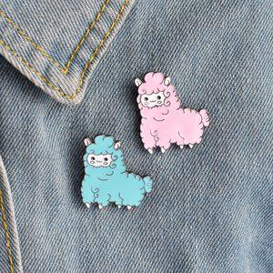 Linda alpaca animal de la broche de la broche de dibujos animados insignia Broche camisa vaquera chaqueta decorada muchacha de las mujeres regalos joyería Ropa linda
