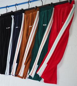 palma 2020SS ángeles nuevo terciopelo rayas blancas cremallera lateral de los deportes ocasionales de los hombres y las mujeres pantalones casuales S-XL