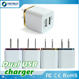 Hot sale Top Quality 5V 2.1A + 1A Double USB AC Travel US Wall Charging Plug Dual Charger For Smart Phone Adapter MQ100