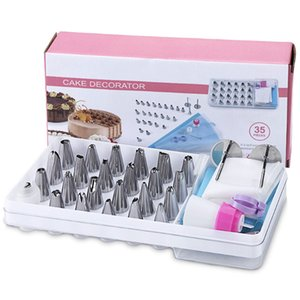 35pcs Cake Decorating Supplies Tips Kits Cake Tools Stainless Steel Baking Supplies Icing Tips with Pastry Bag DWF2912