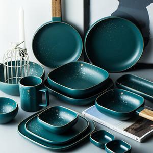 ATUCOHO High Fashion Retro Green Nordic Ceramic Tableware Dinnerware Bowl Plate Soup Bowl Set Modern Style High-en