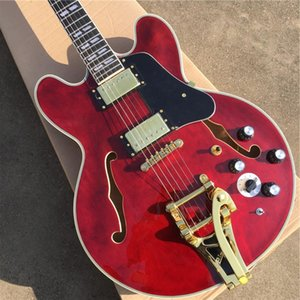 Personalizado 335 Transparente Rojo Semi hueco Jazz Guitarra Eléctrica Sistema Tremolo Sistema de oro Negro Pickguard Diapasón de palisandro