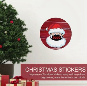 US Stock 21*21cm Christmas Sticker Creative Cartoon Round Window Glass Stickers Xmas Santa Claus Atmosphere Stickers LJJP584