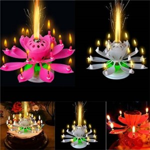 NEW Rotating Colorful Petals Music Candle Children Birthday Party Lotus Sparkling Flower Candles Squirt Blossom Flame Cake Accessory Gift