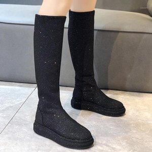 Lolita Boots Flat Floor Boots-Женская платформа Round Toe Женская Обувь Кристалл Роскошный Дизайнер Over-Knee 2020 MED1