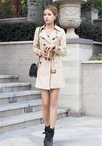 Kadınlar Tasarımcı Palto Moda İnce Çift Breasted Ayarlanabilir Bel Uzun Trençkot Bayan Kabanlar Giyim