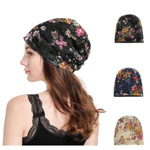 여성 패션 Mercerizing 레이스 풀오버 모자 플로랄 레이스 터번 비니 모자 봄 가을 3colors rra1936 vfe5l