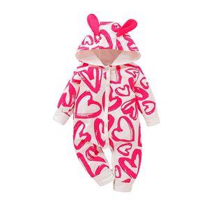 love print cartoon romper Long sleeve hooded jumpsuit Infant Newborn Baby Boys Girls tutine neonato invernale infantil menina