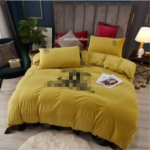 2021 Fall  Winter Embroidered Baby Cashmere Four -Piece Suit Letter Pattern Embroidered Yellow Bedding Cover Sheet Pillowcase Suit jh