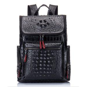 Luufan couro genuíno mochila preta jacaré do Men Padrão Laptop Backpack For Women Leather viagem Daypacks Grande Capacidade
