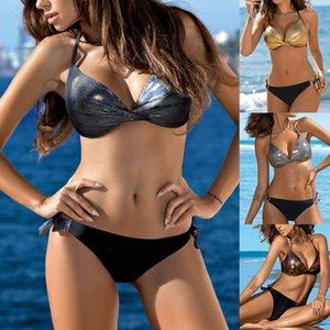 2021 Lovers Patchwork Badmode 2 Stux Sexy Women Summer Swimming Sliding Beach Push Up Bikini Set Brazilian Swim Suit