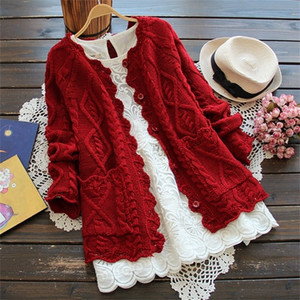 Red Christmas Coats Sweater women cardigan hollow out knitted jacket Spring Autumn coat Kawaii Student LJ201114