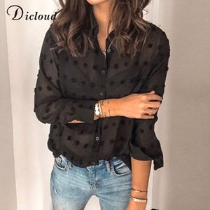 DICLOUD Sexy Fashion Women Black Blouses 2020 Long Sleeve Beach Tunic Elegant Dot Shirt Casual Chiffon Blouse Black Female A1112