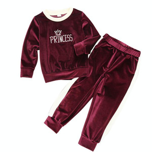 Set Girls Red Gold Velvet Long Sleeve Embroidery Warm And Comfortable Fashionable Simple Hard To Fade High Quality