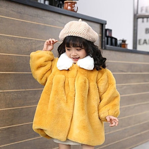 Girl winter new fur jacket plus velvet foreign princess wind children thickening warm cotton clothes men's baby coat