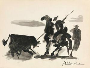Pablo Picasso TOROS Y toreros GOUACHE AÇIK Tuval Ev Dekorasyonu Handpainted HD Yağ On Tuval Wall Art Canvas Resimler 201.114 Boyama yazdır
