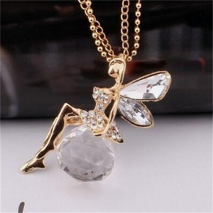 Крылья ангела Ожерелья Мода Женщины Ювелирные Изделия Кристалл Новый Золотой Цвет Длинные Цепочки Ожерелье Бабочка Фея Ожерелье 50 К2