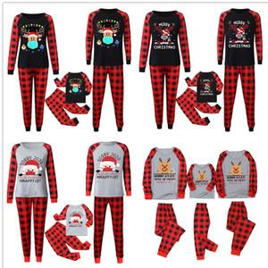 Buffalo Plaid Outfits Natale Pajamas Set Famiglia di corrispondenza 2020 2021 Maschera Renna di Babbo Natale camicetta e pantaloni casa Notte vestiti E110301