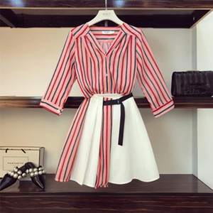 High Quality Women Off Shoulder Striped Blouse Shirts High Waist Button Mini Skirts 2 Pieces Clothing Set Suits