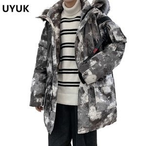 UYUK Winter New Coat Parka Men Wear Hooded Fur Collar Camouflage For Thickened Cotton Padded Jacket Brand-clothing