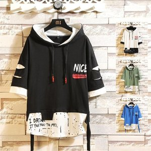 Men's Hoodies & Sweatshirts Summer 2021 Short White Black RED GREEN Hoodie Sweatshirt Mens Hip Hop Punk Pullover Streetwear Casual Fashion C