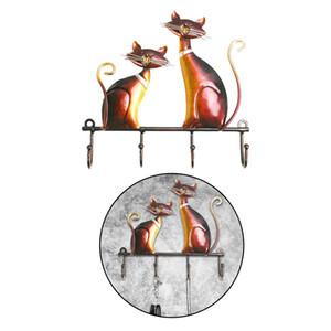 Rustic Iron Wall Mounted Schlüsselzahnstangen-Halter Vintage Design mit 4 Haken Coats Keys Taschen Aufhänger Wand befestigten dekoratives Geschenk