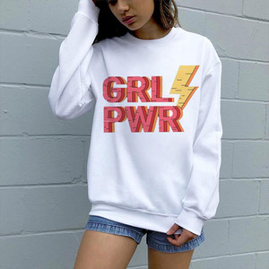 harajuku Sweatshirt Support Feminist Sweatshirt Pullover 90s Aesthetic Clothing New Grl Pwr letter printing aesthetic streetwear