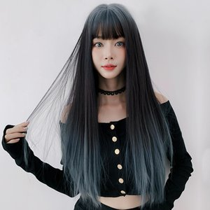 Factory direct sales wig female long hair gradient air bangs net red blue full top long straight hair lolita full headgear