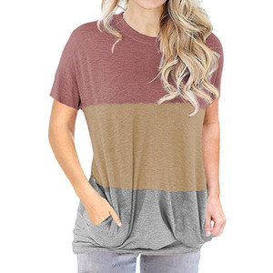 2021 Amazon independent station spring and summer new European and American women's wear color loose round-neck short-sleeved T-shirt