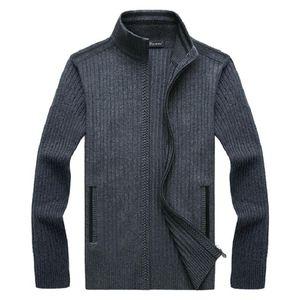 2021 Otoño Invierno Sweater Sweater Abrigo Grueso abrigo Cálido Casual Ropa de punto Cardigan Faux Fur Lea Sweater Jackets Hombres Cremallera Punto