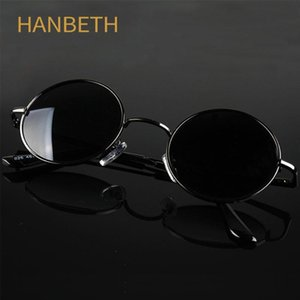 Classic Vintage Round Polarized Sunglasses Men Brand Designer Retro Sun Glasses Women Metal Frame Black lens Driving Eyewear
