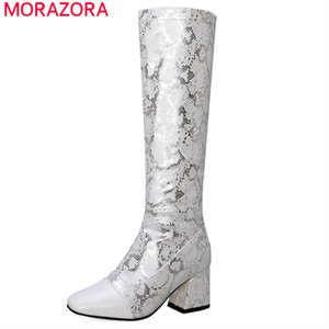 2020 hot sale autumn winter knee high boots women snake zip square toe high heel boots fashion party dress shoes woman210