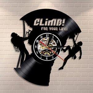 Wall Art Clock Tırmanma Aşıklar Ekstrem Sporlar Modern Duvar Saati Dağcı İlham Tırmanma İçin Vinil Tutanak Saat Kaya Tırmanışı