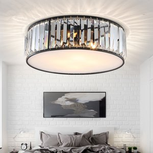 LED Ceiling Lights with K9 crystal Modern Round Ceiling Lamp hardware Bedroom Luminaire Black Dining Lighting Fixture