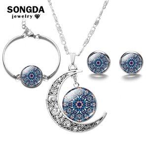 Songda Bohemia del budismo Mandala sistemas de la joyería de plata plateado de cristal Pendientes cabujón joyería de las mujeres Colección collar de la pulsera