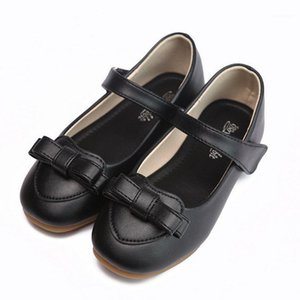 2020 New Children'S Girls School Shoes Kids Party Princess Dress Shoes Girls Flat Soft Leather Pink Black1