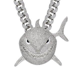 6ix9ine большой размер акул подвеска дикая форма AAA Zircon полный циркон милый хип-хоп ультрамодные мужчины ожерелье 201013