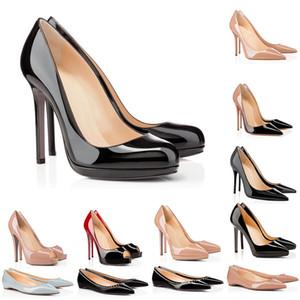 2021 дизайнерский дизайнер красные нижние высокие каблуки для женщин вечеринка свадьба черный обнаженный розовый блеск шипы заостренные пальцы насосы платье обувь размер 35-42