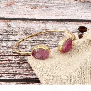 Dayoff Europeia da cor do ouro Oval Mão Cuff Bangle encantos Natural Pedra Pulseiras Mulheres Irregular druzy Bracelet B432 Jóias