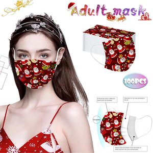 Рождество 1050100pc Mscara Быстрая доставка Masque Оголовье маски для взрослых Одноразовые маски Industrial 3 Layer Mask Серьга bbyspM bwkf