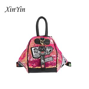 Fashion badge color sequins backpack women holographic travel backpacks female multifunction leisure shoulder bags big tote lady 201013