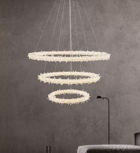 Modern minimalist led chandelier lights living room bedroom pendant lamps  crystal chandelier flower ring restaurant lighting