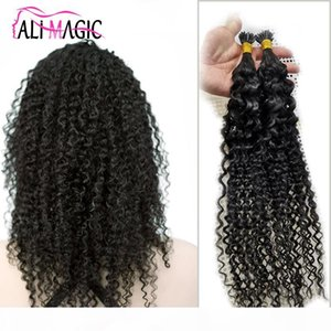 Cuticle Aligned Hair Pre Bonde Human Hair Bundles Kinky Curly 100g Keratin Capsules Human Fusion Nail I Tip Hair Extensions Factory Price