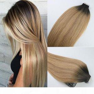 인간의 머리카락 확장에 테이프 Ombre 헤어 브라질 버진 헤어 Balayage 다크 브라운 - 27 금발 확장을 하이라이트 피부 위사