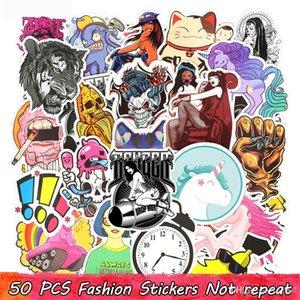 50 pcs autocollants de moto Snowboard Home Funny Home Stickers Stickers Autocollant Pour Cool Casque Graffiti Portable Guitare Bicyclette Anime Décoration D
