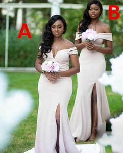 Country Bridesmaid Dresses Mermaid 2021 Sexy Side Split Long Maid of Honor Gowns Zipper Back Cheap Wedding Guest Dress